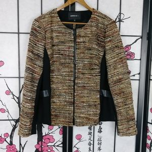 Lafayette 148 Tweed & Faux Leather Zip Jacket